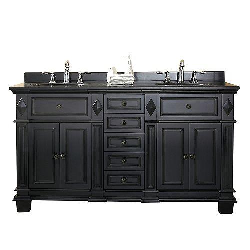 Essex 60 inch Antique Black Double Sink Vanity with Black Granite Top
