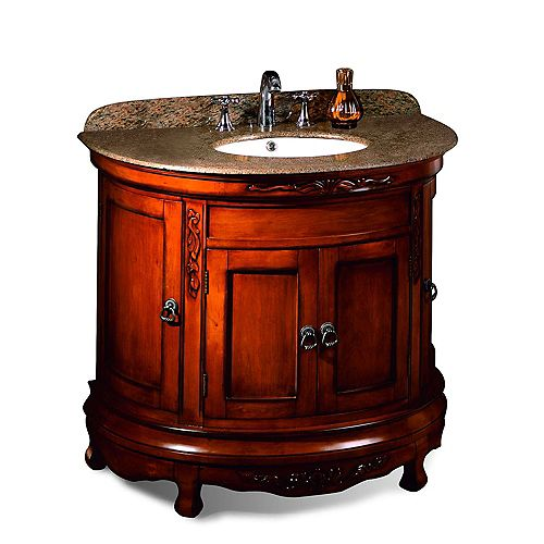 Victoria 36 inch Light Cherry Single Sink Vanity with Almond Gold Granite Top