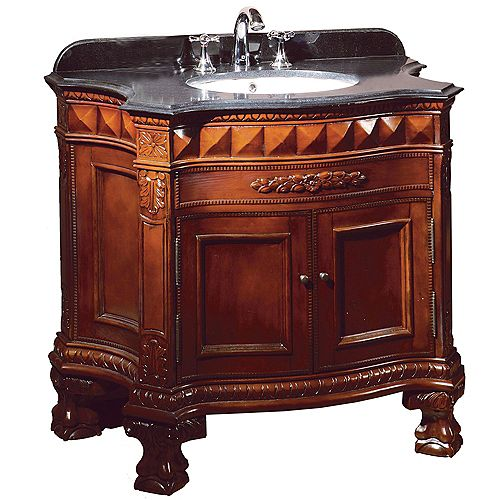Buckingham 36 inch Dark Cherry Single Sink Vanity with Black Granite Top