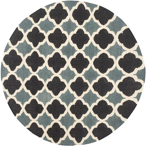 Safavieh Dhurries Phyliss Blue / Navy 6 ft. X 6 ft. Round Area Rug