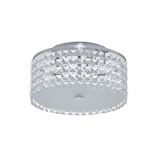 11 inch Chrome and Glass Flush Mount Ceiling Light