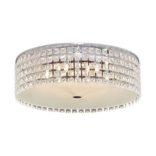 16 inch Chrome and Glass Flush Mount Ceiling Light