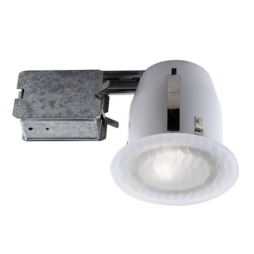 5-inch Textured White Closed Glass Recessed Fixture Kit for Damp Locations