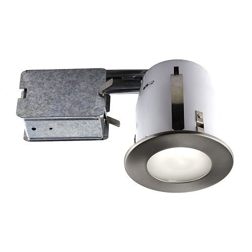 Bazz 4-inch Brushed Chome Recessed Fixture Kit for Damp Locations