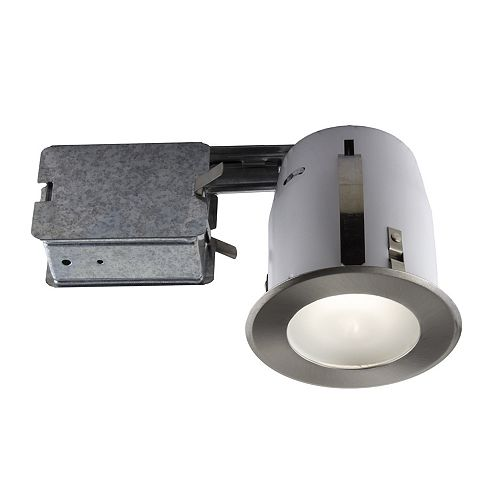 4-inch Brushed Chome Slim Design Recessed Fixture Kit for Damp Locations