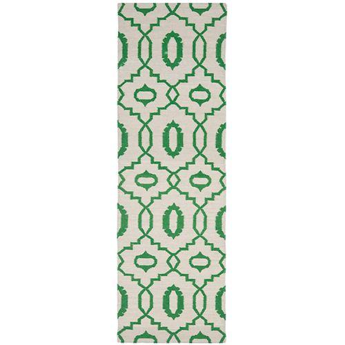 Safavieh Dhurries Topher Ivory / Green 2 ft. 6-inch X 8 ft. Runner