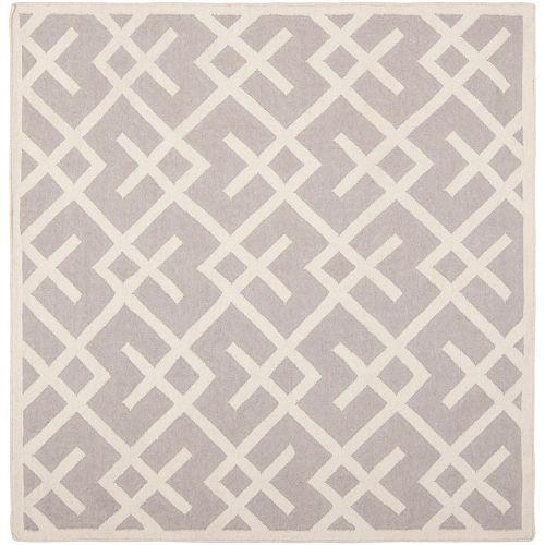 Safavieh Dhurries Iris Grey / Ivory 6 ft. X 6 ft. Square Area Rug