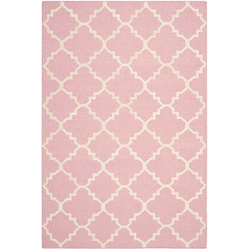 Safavieh Dhurries Franz Pink / Ivory 4 ft. X 6 ft. Area Rug