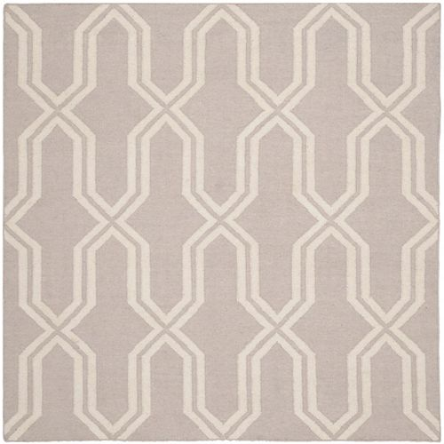 Safavieh Dhurries Ray Grey / Ivory 6 ft. X 6 ft. Square Area Rug