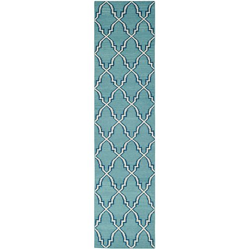 Safavieh Dhurries Grace Light Blue / Ivory 2 ft. 6-inch X 6 ft. Runner