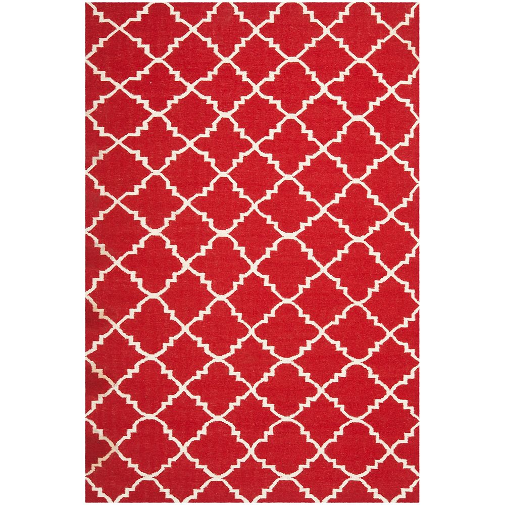 Safavieh Dhurries Lucy Red / Ivory 6 ft. X 9 ft. Area Rug