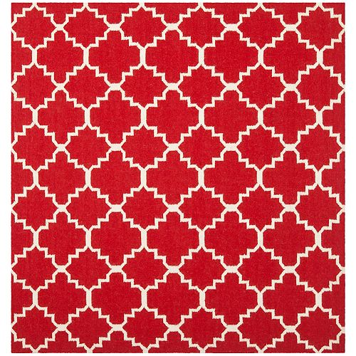 Safavieh Dhurries Lucy Red / Ivory 8 ft. X 8 ft. Square Area Rug