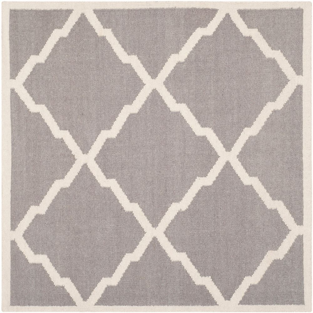 Safavieh Dhurries Ron Grey / Ivory 6 ft. X 6 ft. Square Area Rug