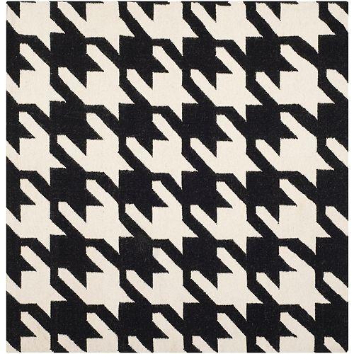 Safavieh Dhurries Madeline Black / Ivory 6 ft. X 6 ft. Square Area Rug