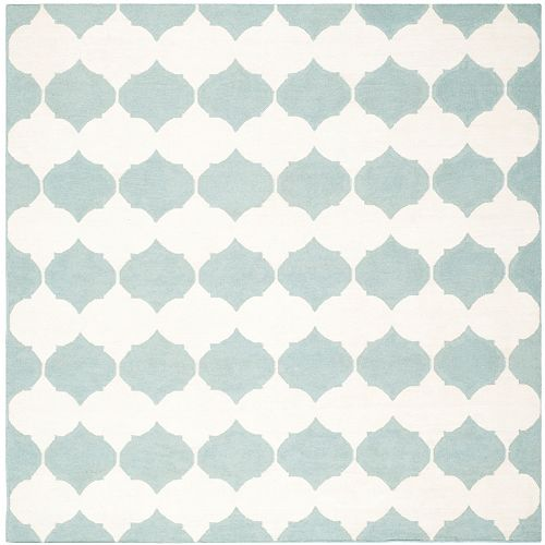 Safavieh Dhurries Jackie Blue / Ivory 7 ft. X 7 ft. Square Area Rug