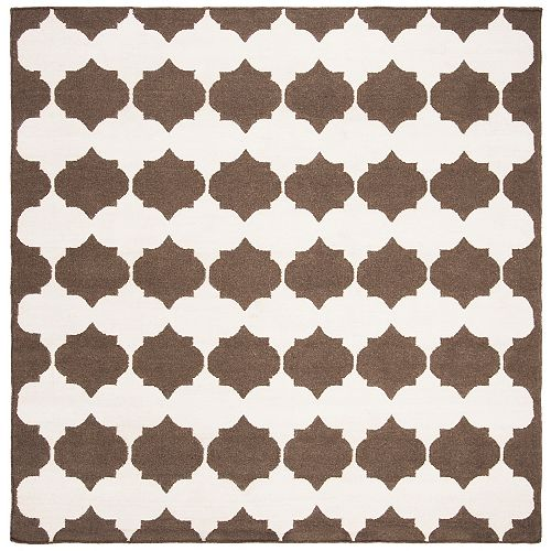 Safavieh Dhurries Jackie Brown / Ivory 7 ft. X 7 ft. Square Area Rug