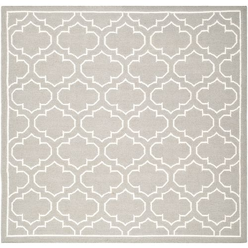 Safavieh Dhurries Spencer Grey / Ivory 7 ft. X 7 ft. Square Area Rug