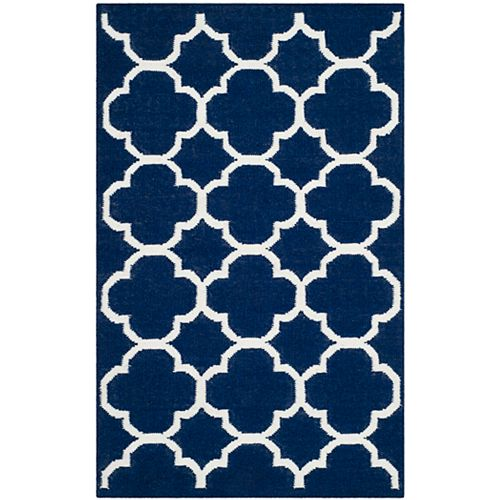 Safavieh Dhurries Andy Navy / Ivory 3 ft. X 5 ft. Area Rug
