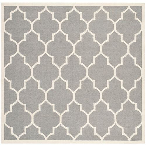 Safavieh Dhurries Fiona Grey / Ivory 6 ft. X 6 ft. Square Area Rug