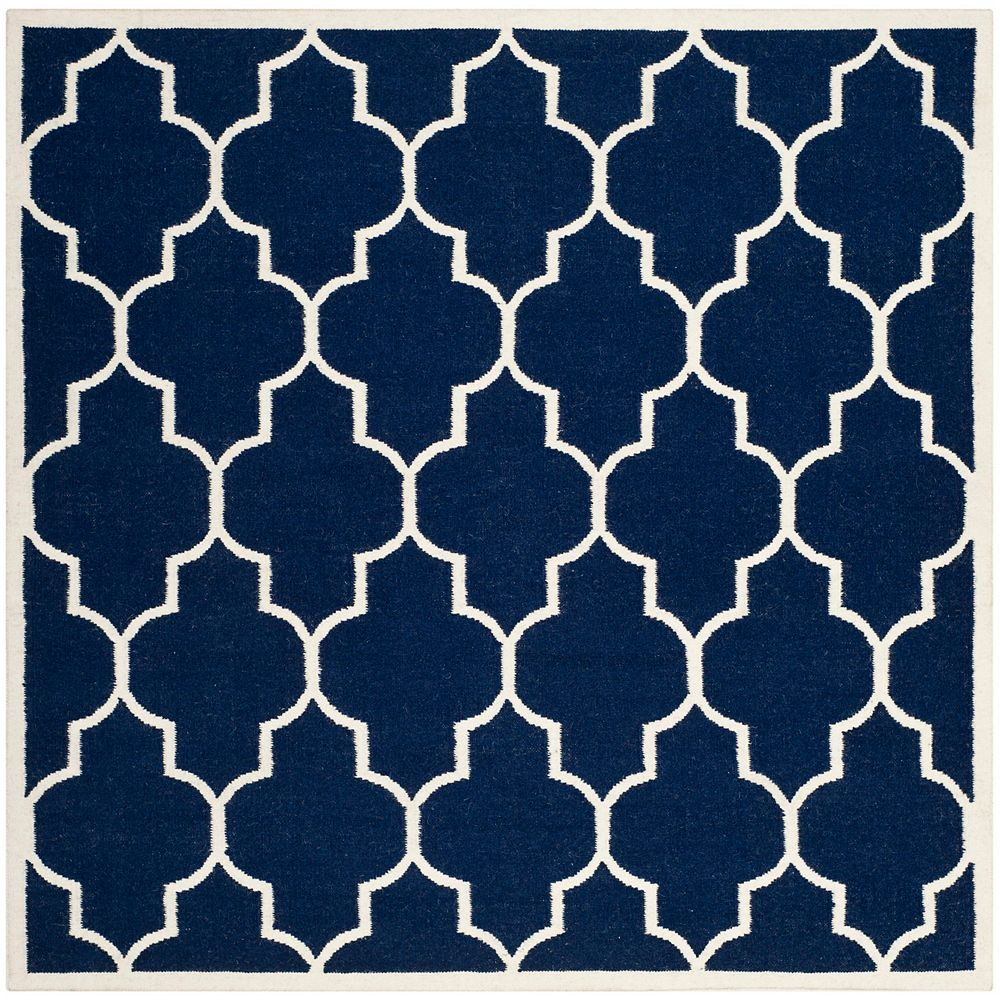 Safavieh Dhurries Fiona Navy / Ivory 6 ft. X 6 ft. Square Area Rug