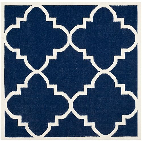 Safavieh Dhurries Olivia Navy / Ivory 8 ft. X 8 ft. Square Area Rug