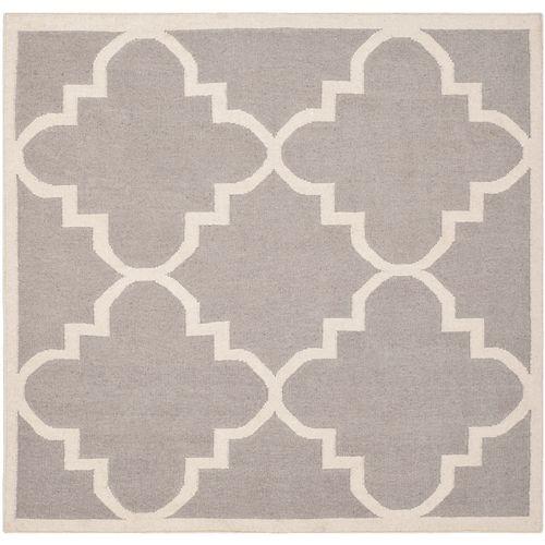 Safavieh Dhurries Olivia Dark Grey / Ivory 6 ft. X 6 ft. Square Area Rug