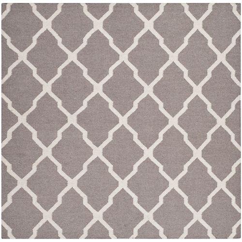 Safavieh Dhurries Flint Dark Grey / Ivory 6 ft. X 6 ft. Square Area Rug