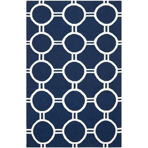 Safavieh Dhurries Terrence Navy / Ivory 6 ft. X 9 ft. Area Rug