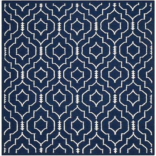 Safavieh Dhurries Issac Navy / Ivory 6 ft. X 6 ft. Square Area Rug