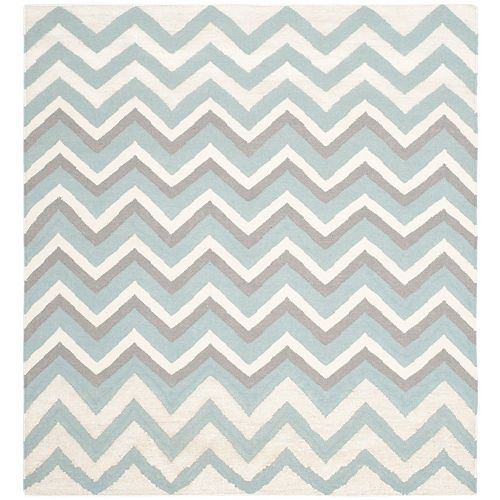 Safavieh Dhurries Wendy Blue / White 6 ft. X 6 ft. Square Area Rug