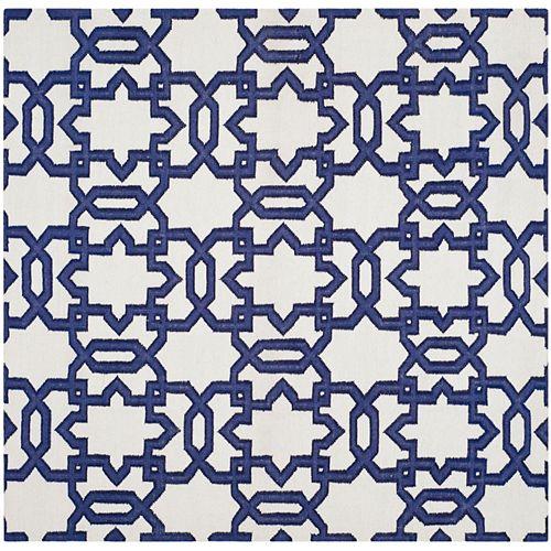 Safavieh Dhurries Zola Ivory / Purple 6 ft. X 6 ft. Square Area Rug