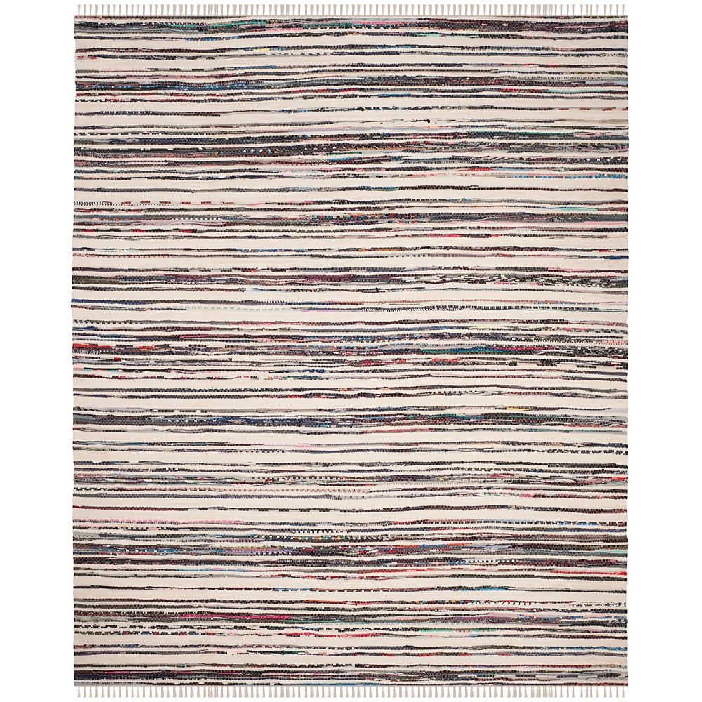Safavieh Rag Rug Webster Ivory / Charcoal 8 ft. X 10 ft. Area Rug