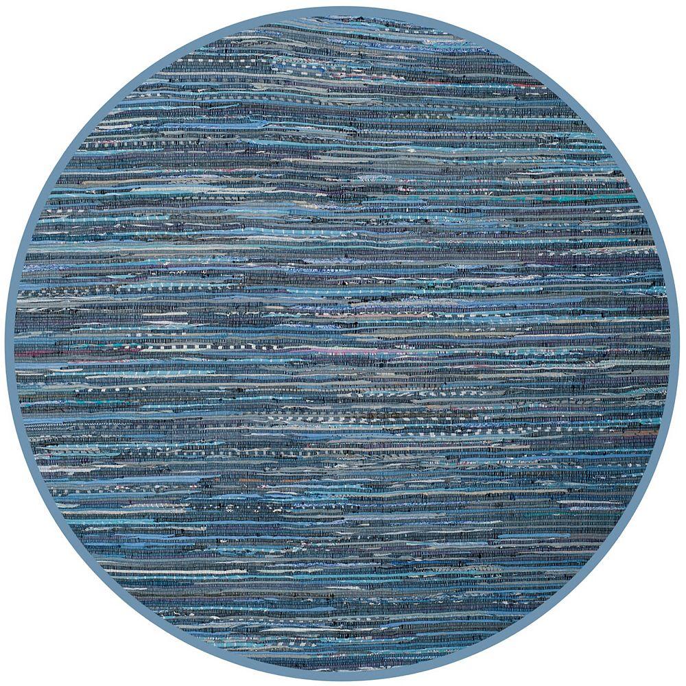 Safavieh Rag Rug Lennox Blue / Multi 4 ft. X 4 ft. Round Area Rug