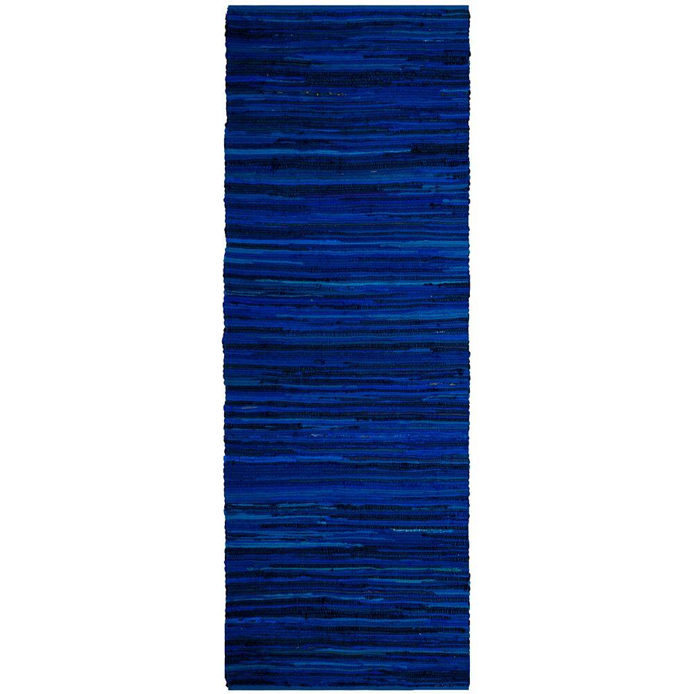 Safavieh Tapis de passage d'intérieur, 2 pi 3 po x 6 pi, Rag Rug Emmet, bleu / multi