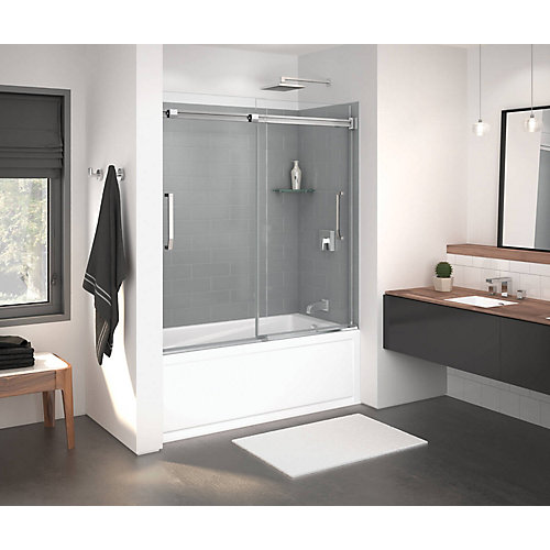Inverto Frameless Sliding Tub Door 56 to 59 Inch x 55.5 Inch Chrome