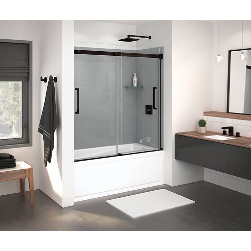 Inverto 59 inch x 55 1/2 inch Frameless Sliding Tub Door in Dark Bronze