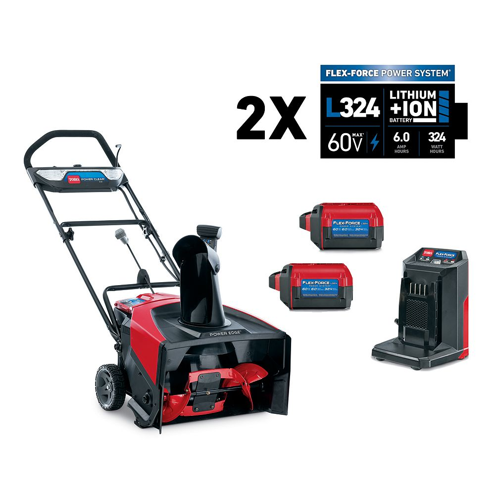 Toro Power Clear 21-inch 60V Lithium-Ion Brushless Cordless Electric Snow Blower with Two 6.0 Ah Batteries and Charger