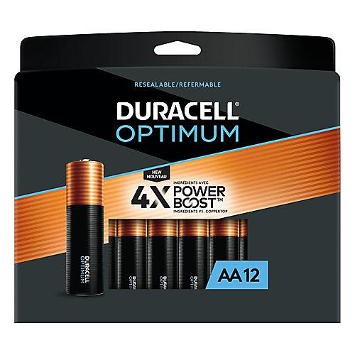 Piles alcalines AA Duracell Optimum 1,5 V Emballage refermable pratique, pack de 12