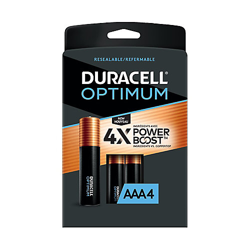 Piles alcalines AAA Duracell Optimum 1,5 V Emballage refermable pratique, pack de 4