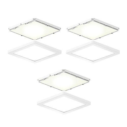 Kit of 3 square ultra-slim LED puck lights
