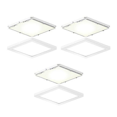Kit of 3 Ultra-Slim Square LED Puck Lights
