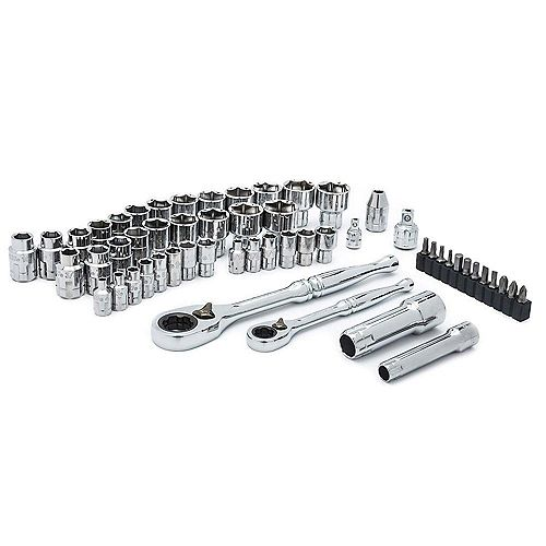 1/4 inch and 3/8 inch Drive SAE and Metric Pass-Thru Mechanics Tool Set (55-Piece)