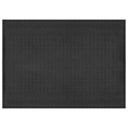 """Paillasson commercial rectangulaire en caoutchouc de 4 pi x 6 pi, motif """"tirets"""", noir"""