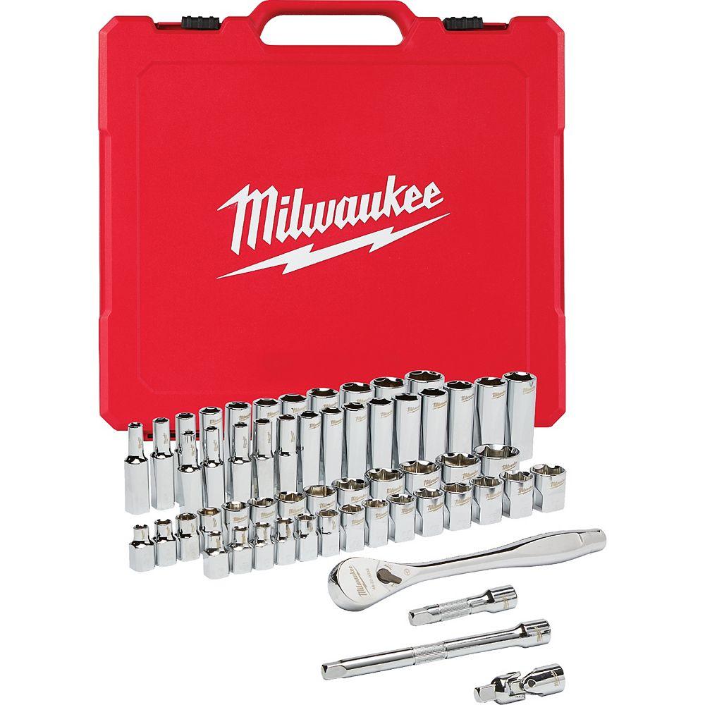 Milwaukee Tool 3/8 -inch Drive SAE/Metric Ratchet and Socket Mechanics Tool Set (56-Piece)