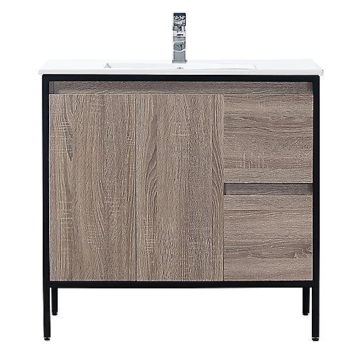 Meuble-lavabo avec armoire Kearney de 91,4cm (36po) de la collection Home Decorators, taupe