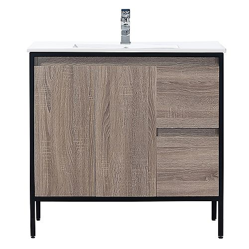 Home Decorators Collection Kearney 36 inch Taupe Vanity Bathroom Cabinet