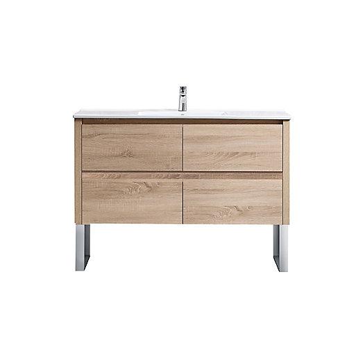 Lennard 48-inch Natural Wood Bathroom Vanity Cabinet