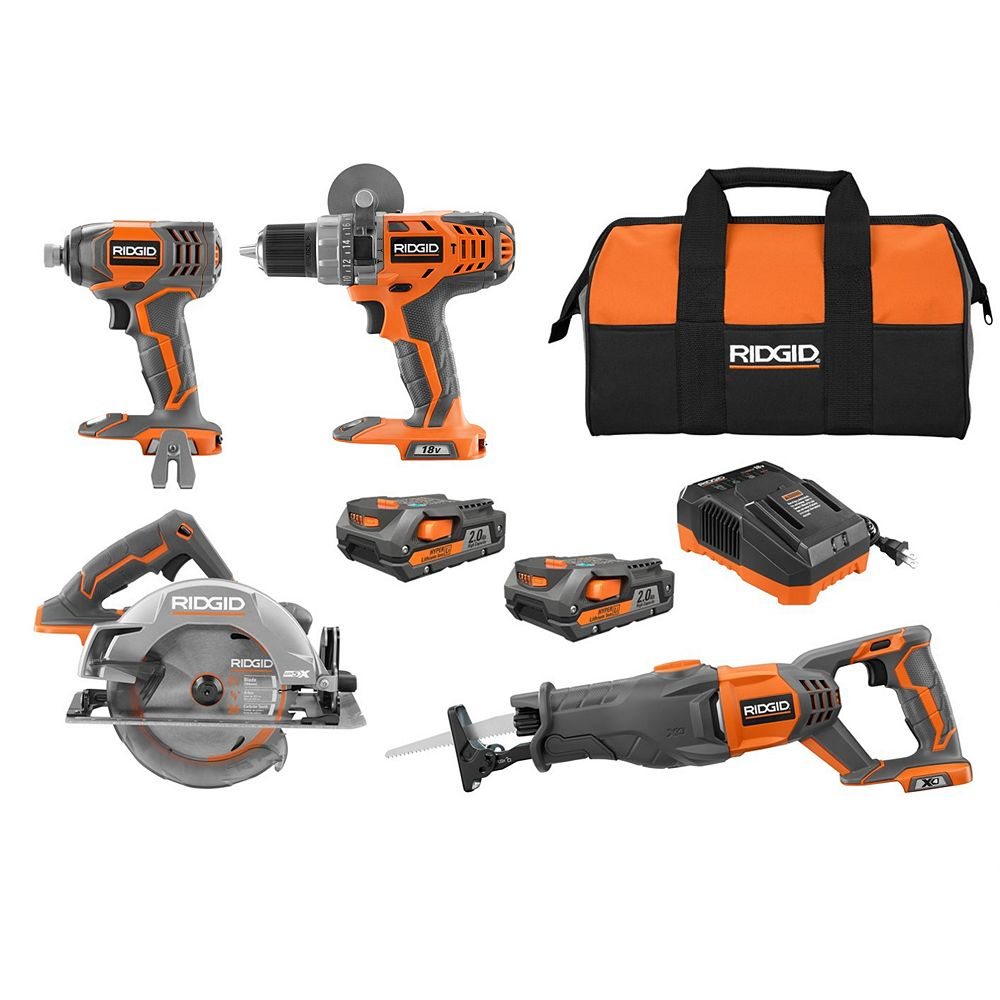 RIDGID 18V Lithium-Ion Cordless Combo Kit (4-Tool) w/ (2) 2.0 Ah Batteries, 18V Charger & Contractor's Bag