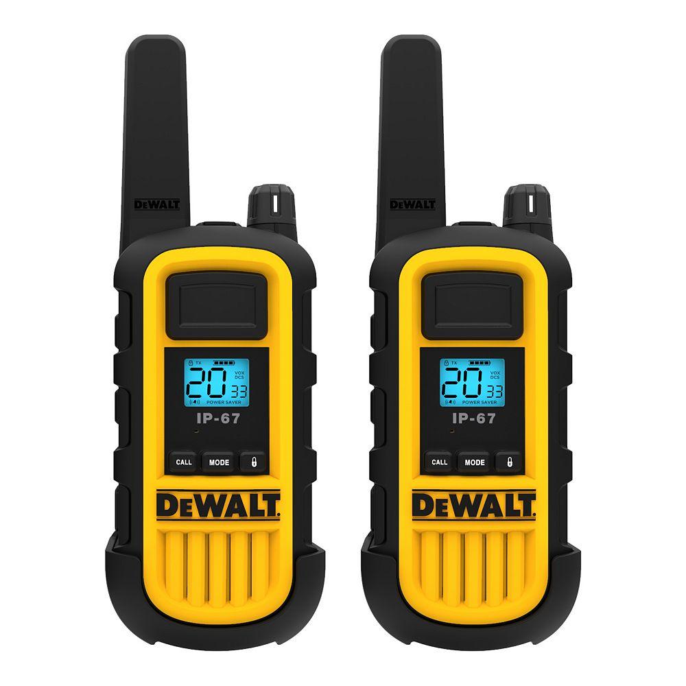 DEWALT 300,000 Sq. ft. FRS/GMRS Heavy Duty 2 Watt Two-Way Radio Set - Two Pack