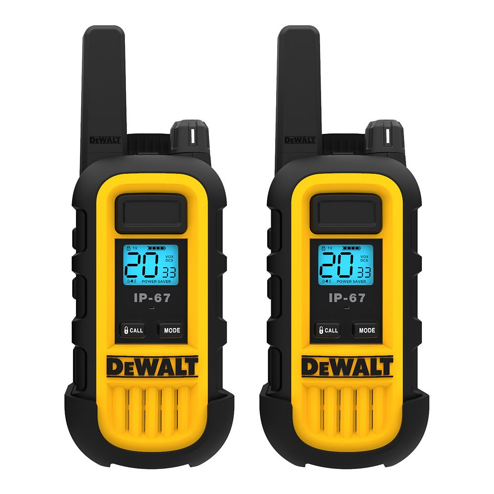 DEWALT 250,000 Sq. ft. FRS/GMRS Heavy Duty 1 Watt Two-Way Radio Set - Two Pack